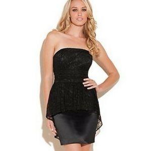 GUESS Dakota Lace Peplum Strapless Mini Dress